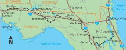 DeFuniak Springs, Fla., to St. Augustine, Fla.  (428.5 miles)