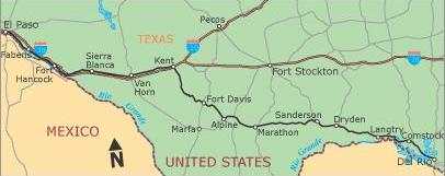 El Paso, Texas, to Del Rio, Texas (451.5 miles)