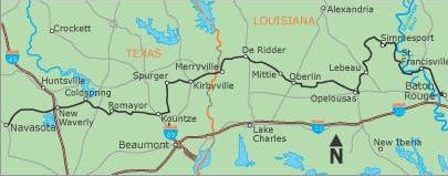 Navasota, Texas, to St. Francisville, La. (416.5 miles)