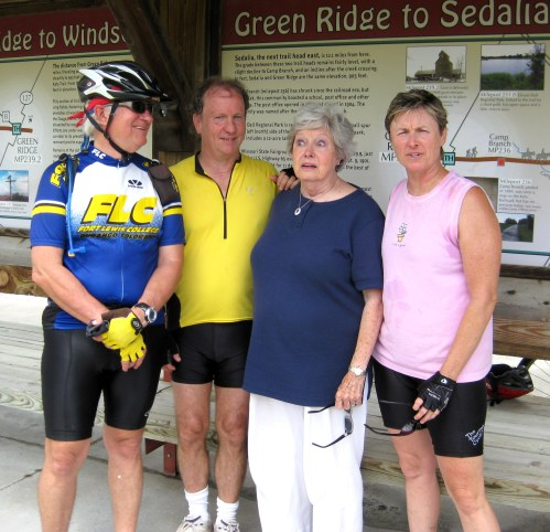 Jim Peipert, Jim Finney, Jean Karr (Laura's mother) and Laura at Green Ridge, Mo., on first day on Katy Trail