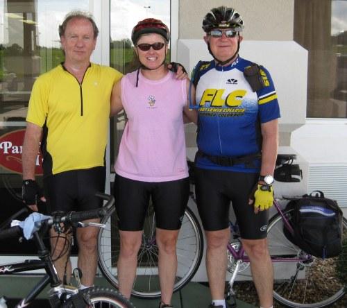 Jim Finney, Laura Karr and Jim Peipert at start of ride along Katy Trail at Parkfield Inn in Clinton, Mo., June 11, 2009