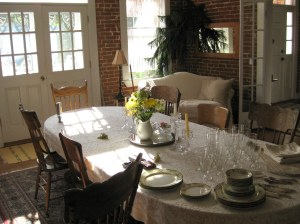 The dining room at the Red Brick Inn