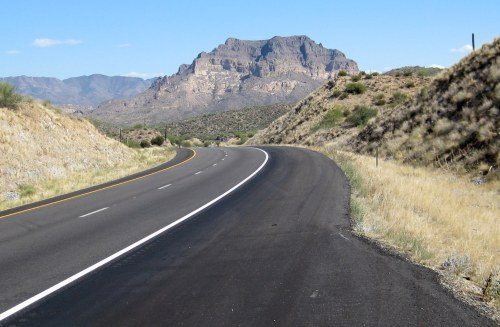 Heading down the east side of Gonzales Pass on U.S. 60 toward Superior, Ariz.