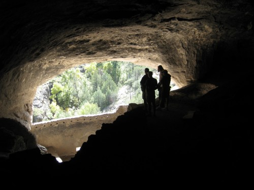 Inside the cliff dwellings at Gila Springs, N.M.