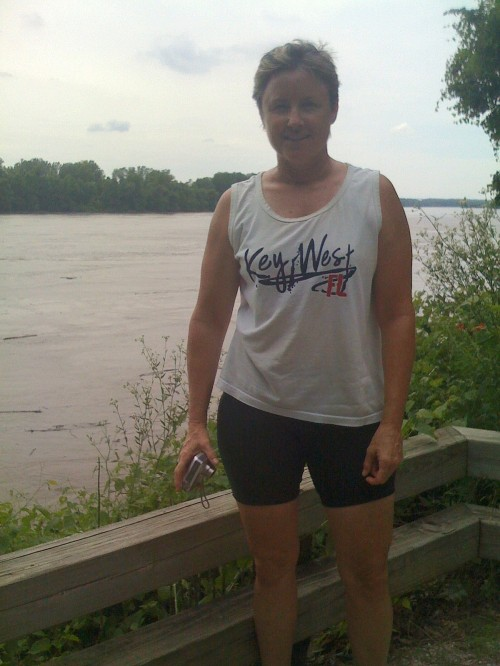 Laura beside the Missouri River