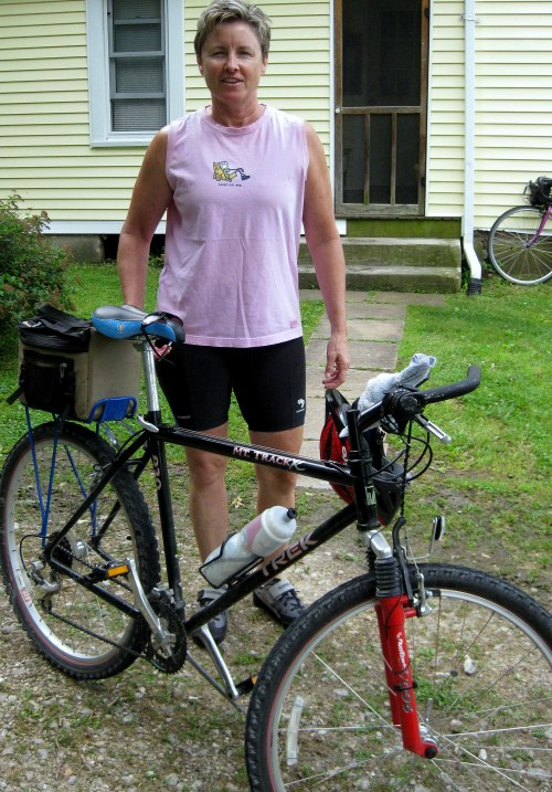 Laura ready to ride from the Rendleman Home on our third day on the Katy Trail