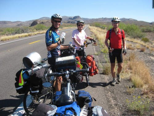 On the road to Three Way, Ariz. From left: Derrik, Cathy and Gerben