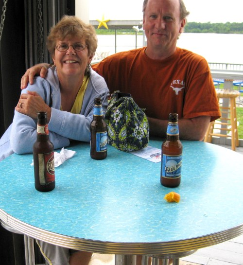 Sue Kaid (my sister) and Jim at the Loading Dock on the Mississippi River at Grafton, Ill., upriver from Alton
