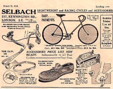 1924 ad for a London bicycle shop