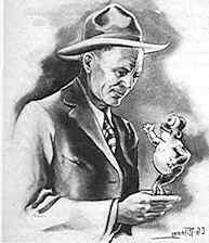 """Hall and his frog in an illustration by C.G. """"Put"""" Putnam in the Ghost Town News, 1946"""