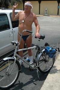 Bikini cyclist