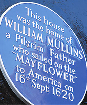 Plaque on Mullins house in Dorking, England