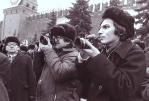 Covering a parade in Red Square, early 1970s