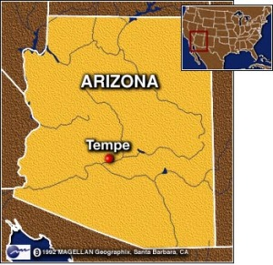 Tempe on map