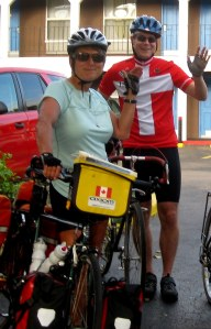 Erik with fellow rider Cathy Blondeau setting out from Austin