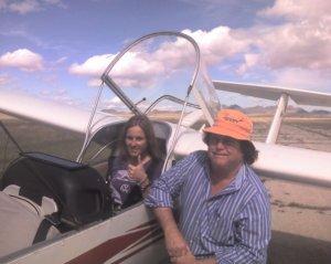 Kami in a glider in Marfa