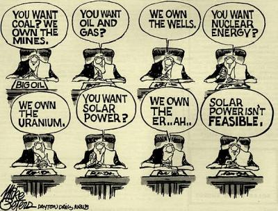 More than 30 years after this  cartoon, solar power is still not competitive. The West controlled technology, financial markets and raw material sources. Plus they had the killing machines like CIA, Mosssad. Just in case you stepped out of line. (Cartoon by Mike Peters; cartoon from the book-cover of SolarGas by David Hoye, published in 1979. Image courtesy - http://jimsbikeblog.wordpress.com) Click for larger image.