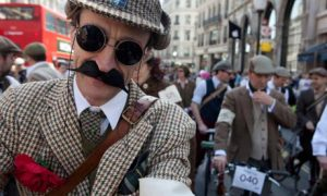 A good way to network in London is the annual Tweed Run. Photo by Mike Goldwater/Alamy