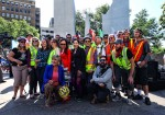 Cyclists who helped coordinate delivery of the bike-share bikes pose with bicycling Mayor Betsy Price