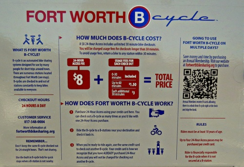 Fort Worth B Cycle info board