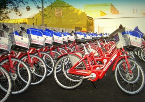 Fort Worth Bike Sharing bikes awaiting delivery by volunteers