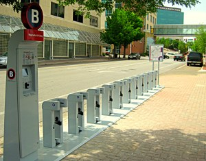 Bike-docking station at Magnolia and Hurley avenues