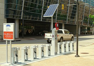 Downtown bike-docking station in front of the Omni Hotel