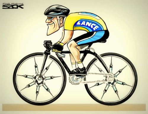A Steve Sack editorial cartoon of Lance Armstrong that was among his body of work that won a 2013 Pulitzer Prize