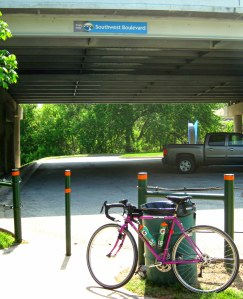 My bike at the trailhead at Southwest Boulevard