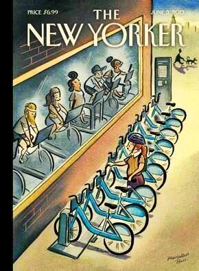 New Yorker cover on bike-share system