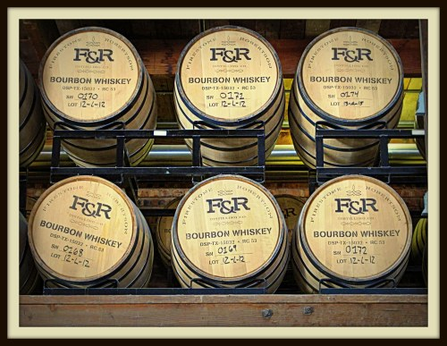 Barrels of aging bourbon at Firestone & Robertson Distilling Co., Fort Worth