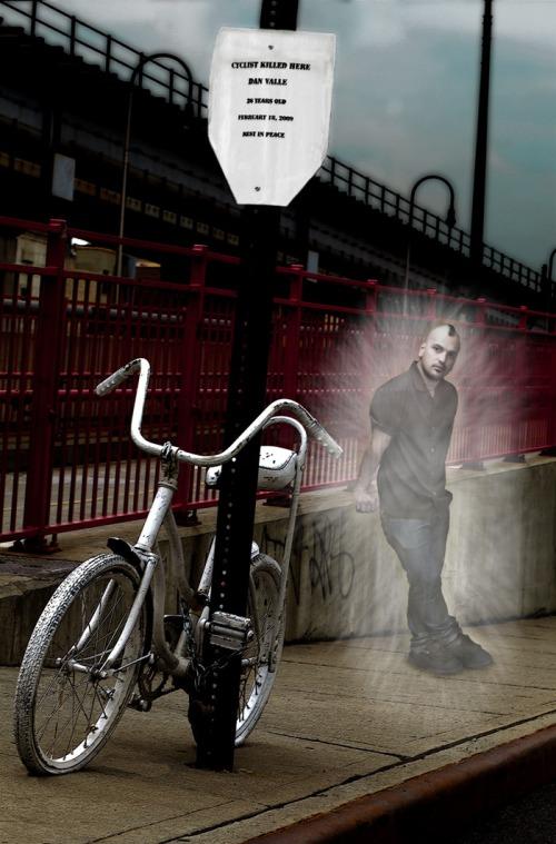 Ghost bike placed in memory of Dan Valle, killed Feb. 18, 2009, in New York City. Photo by Genea Barnes