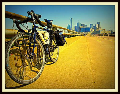 My bike on the bridge between Oak Cliff and downtown Dallas, 2013