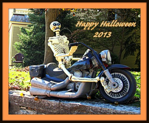 "I shot this last week during a visit to my hometown, Alton, Ill. This skeletal motorcycle rider was part of a ""Sons of Anarchy"" Halloween display."