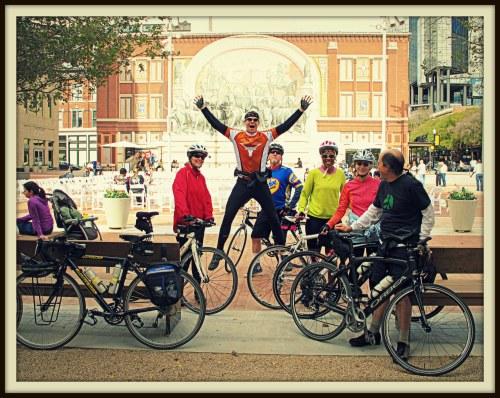 Erik Hansen, the leaping Danish Viking, and the Sunday morning neighborhood bike group in Sundance Square Plaza, Nov. 3, 2013