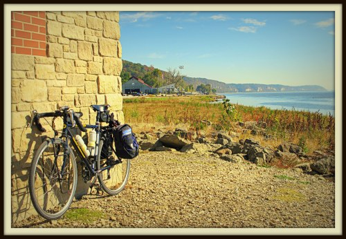 My bike at Grafton, Ill., the confluence of the Illinois and Mississippi rivers, Oct. 28, 2013