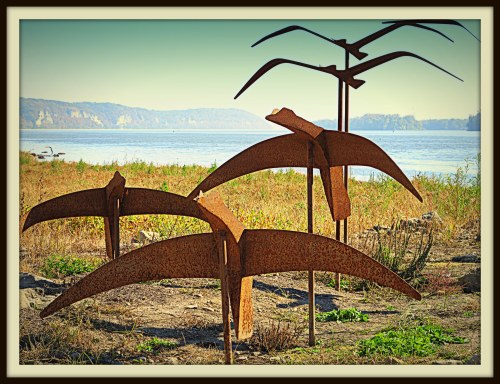 Steel sculptures of Canadian geese, Grafton, Ill., Oct. 28, 2013