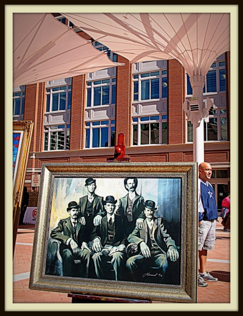 Sundance Square takes its name from Harry Alonzo Longabaugh, aka the Sundance Kid, seated at far left in this painting of an iconic photograph taken of the Wild Bunch gang in Fort Worth in November 1900.