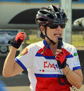 Luci Baines Johnson in her biking gear