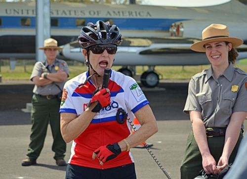 Luci Baines Johnson leads a bike tour of the LBJ Ranch accompanied by National Park Service rangers