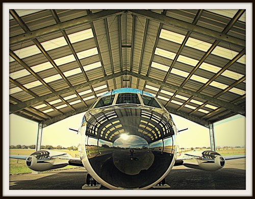 Nose-on view of Air Force One-Half, the Lockheed JetStar that Lyndon Johnson used to take him from Bergstrom Air Force Base in Austin to the LBJ Ranch when he was president