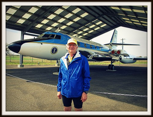 Standing in front of Air Force One-Half after the LBJ 100 bike ride