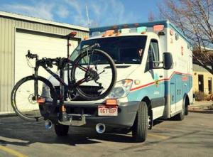 A Poudre Valley Hospital ambulance equipped with a bike rack. Photo by University of Colorado Health